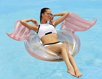 Splosh Pearlescent Anillo de piscina de alas de ángel con relleno de oro: Amazon.es: Deportes y aire libre