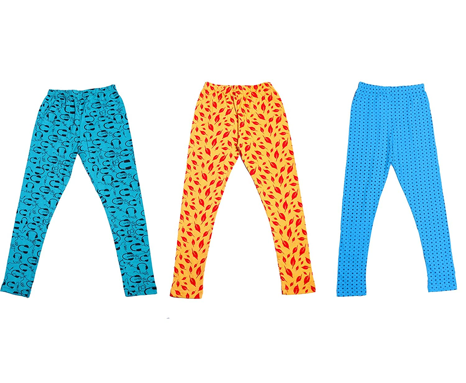 Indistar Girls Super Soft and Stylish Cotton Printed Legging Pack of 5