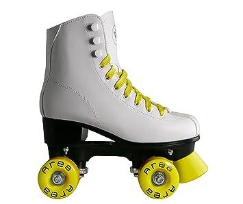 Patines de ruedas para patinaje artístico con botines blancos, ruedas y cordones de