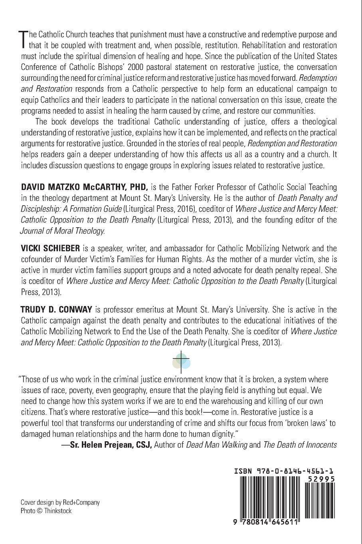Redemption and Restoration: A Catholic Perspective on Restorative Justice:  David Matzko McCarthy, Vicki Schieber, Trudy D. Conway: 9780814645611: ...