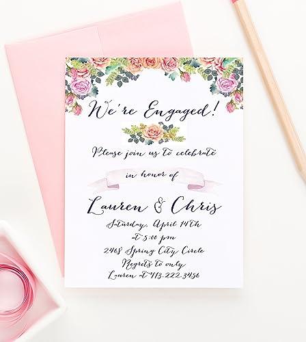 amazon com rustic engagement party invitation floral engagement