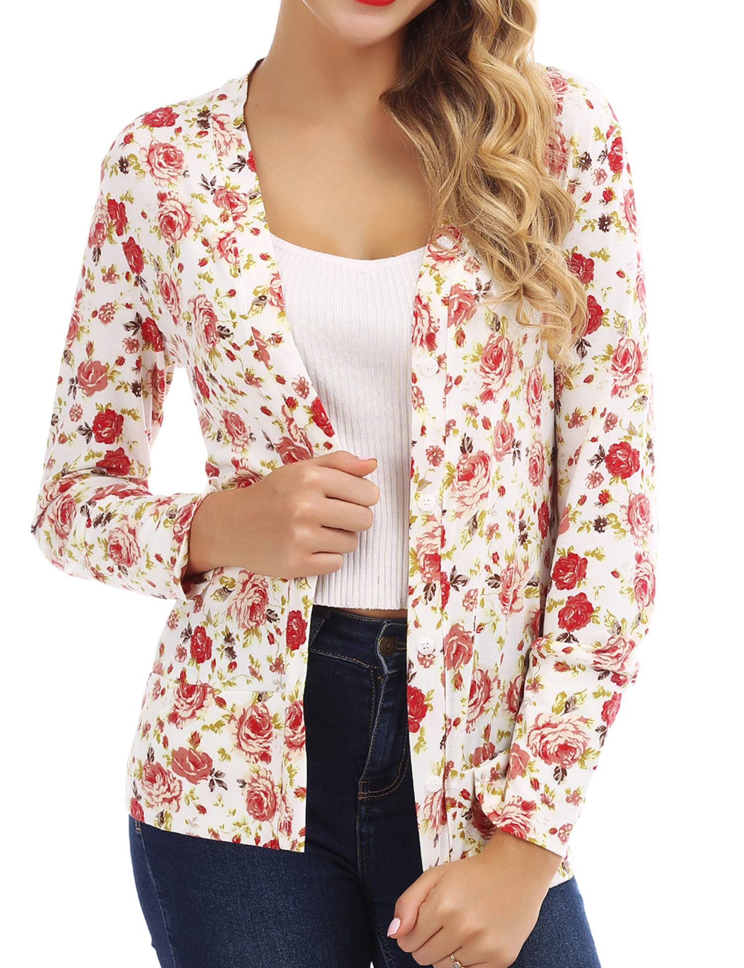 FISOUL Women's Cardigan Button Floral Turn-Down Long Sleeve Blouse Tops XL White