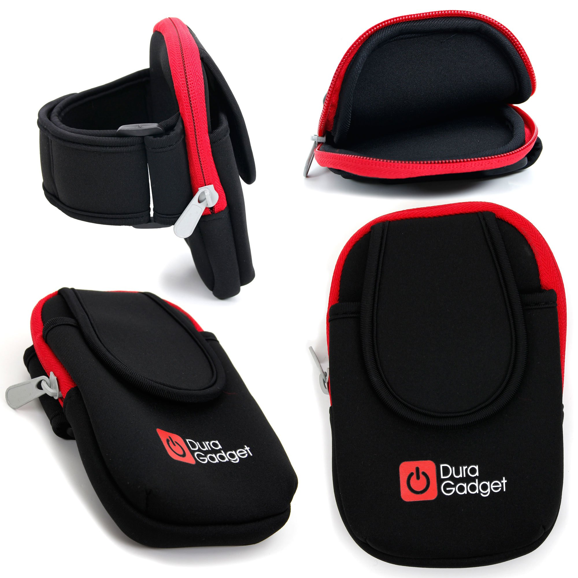 DURAGADGET Black & Red Neoprene Sports Armband for The HccToo Music Player 16GB