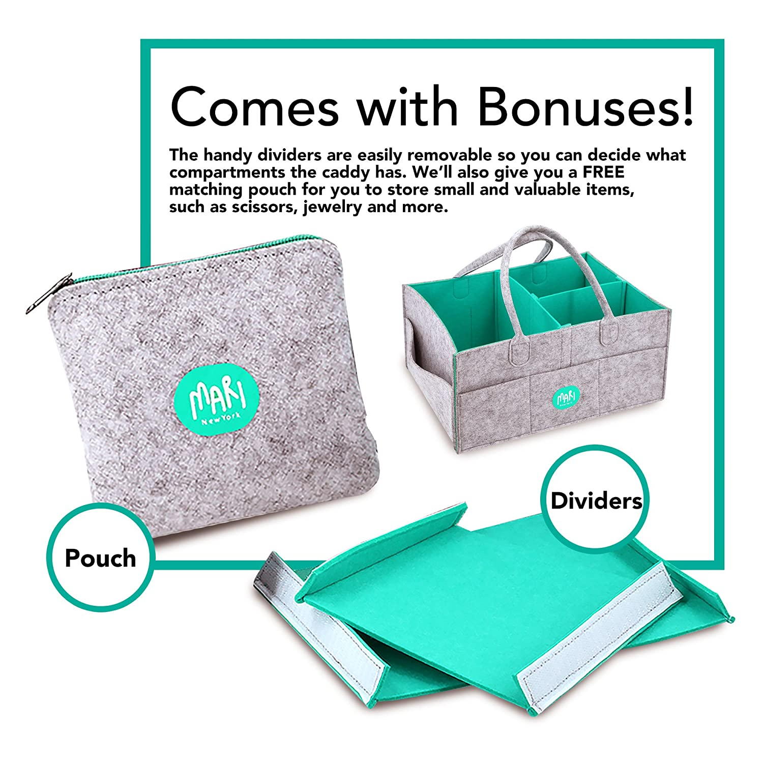 XL Baby Diaper Caddy Organizer with FREE Pouch - Nursery Organizing Basket For Baby Changing Essentials - Baby Shower Gift Idea and Toy Storage For Boys And Girls | MARI New York