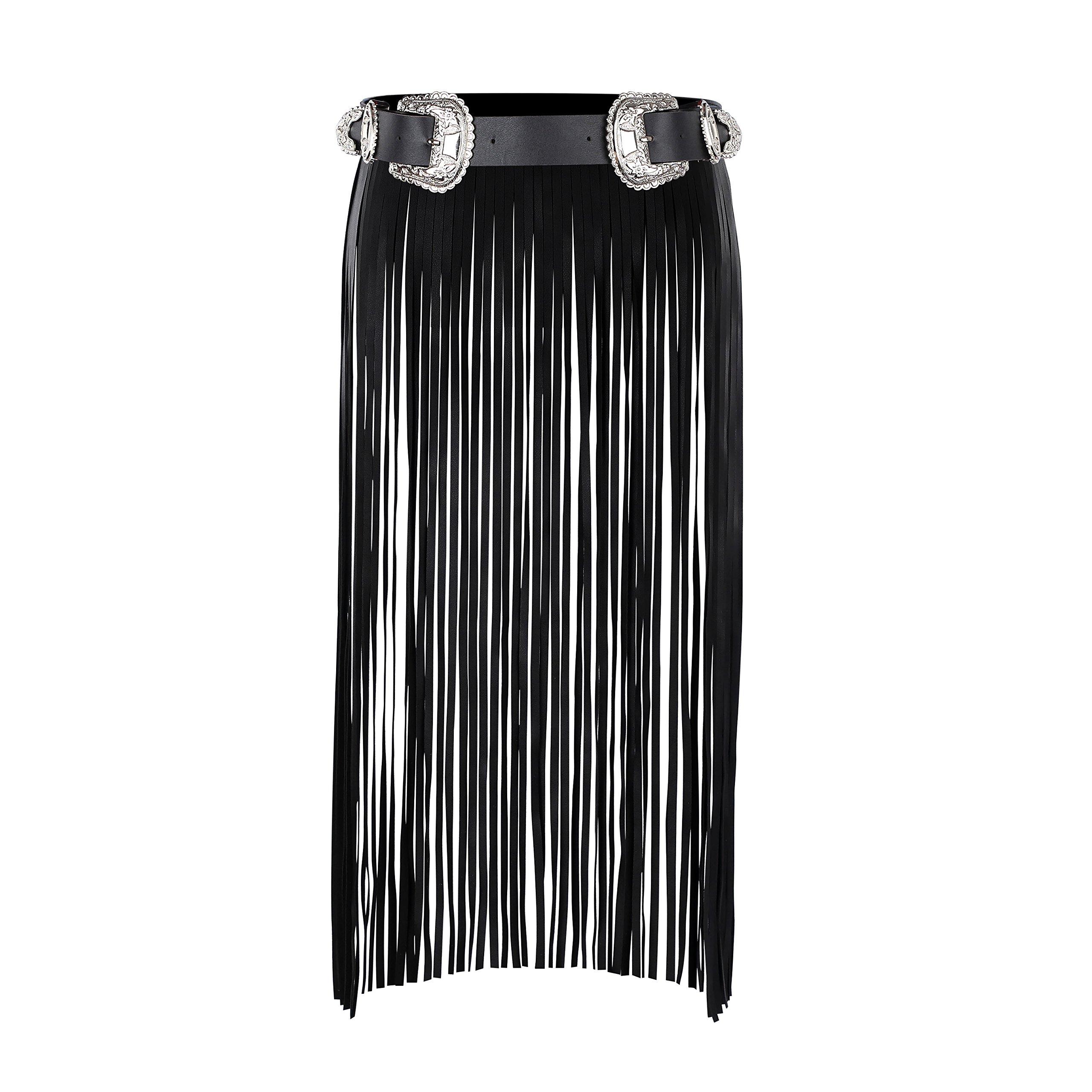 Wyenliz Women's Leather Skirt Belt Double buckles Tassel Gothic Waist Belt