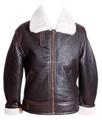 Men S Shearling B3 Brown Real Sheepskin World War 2 Bomber Leather