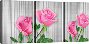 Pink Wall decor for girls bedroom Decoration Framed Flowers Wall Decor canvas bathroom pictures 3 Pieces rose bathroom decor wall art Beige Wood Board Floral teenage girl room decor painting 12×16 Inch