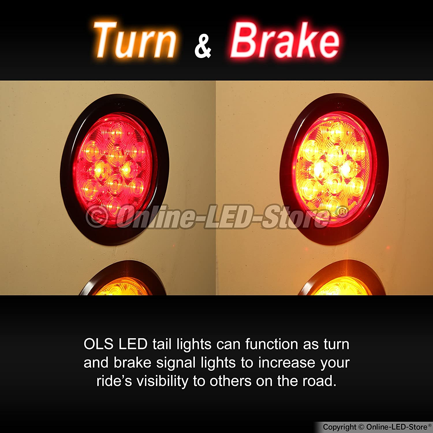2pc 4 Round Led Trailer Tail Lights Red Turn Stop Also Oval Along With Wiring Brake For Rv Jeep Trucks Dot Certified Grommet Plug Included