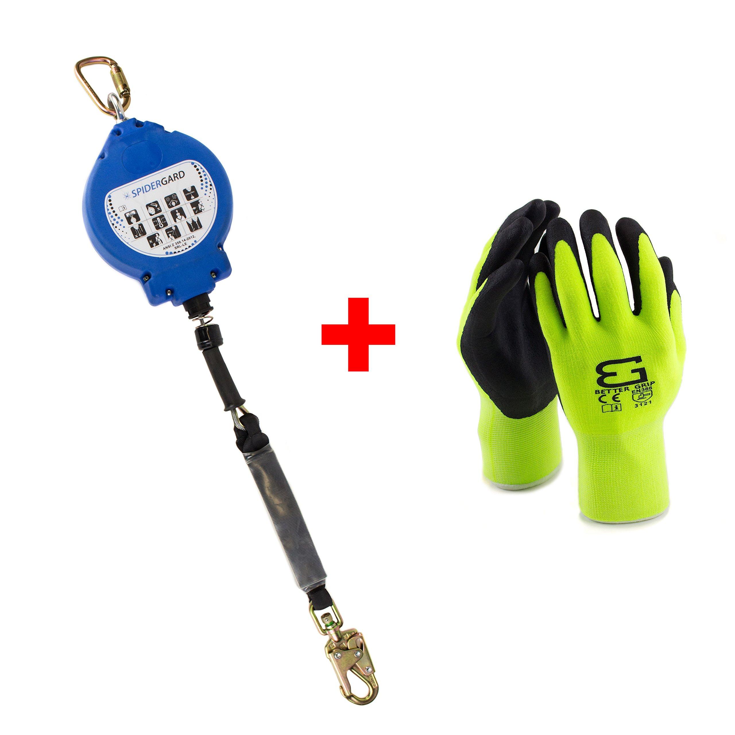 Spidergard SPL-RR50 50 Foot Wire Rope Self-Retracting Lifeline with Swivel Hook and Carabiner w/ Micro Foam Work Glove by Spidergard (Image #1)
