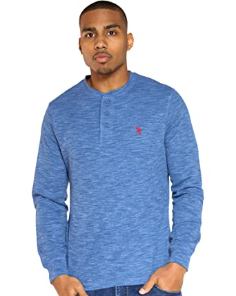 U.S.POLO ASSN. Long Sleeve Thermal Henley Sudadera, Space Dye ...