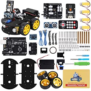 ELEGOO UNO R3 Project Smart Robot Car Kit V4.0 with UNO R3, Line Tracking Module, IR Remote Control Module etc. Intelligent and Educational Toy Car Robotic Kit for Arduino Learner