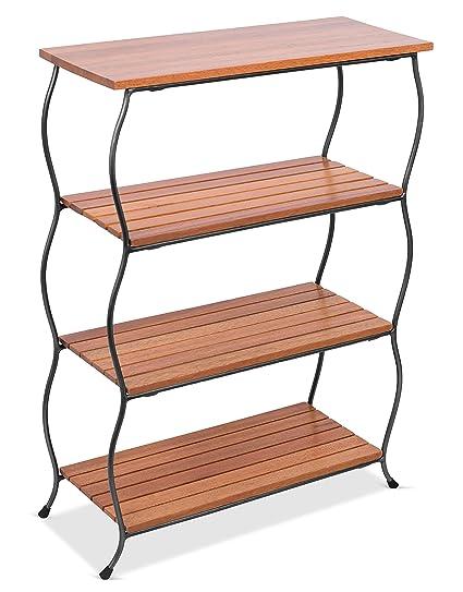 amazon com birdrock home industrial 4 tier shelving unit wooden rh amazon com wooden free standing shelving units free standing wooden shelves garage