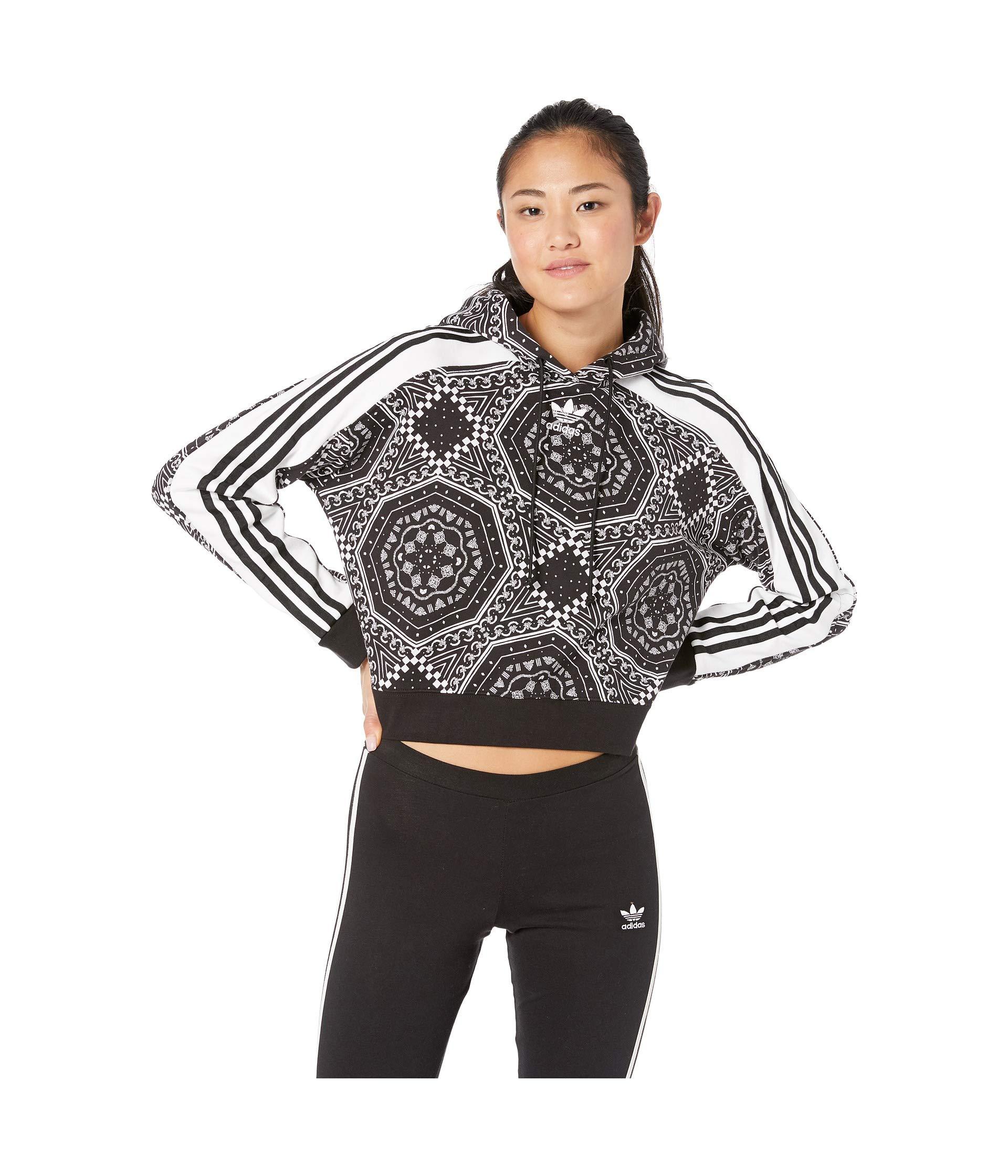 adidas Originals Women's Cropped Hoodie Black/White X-Large