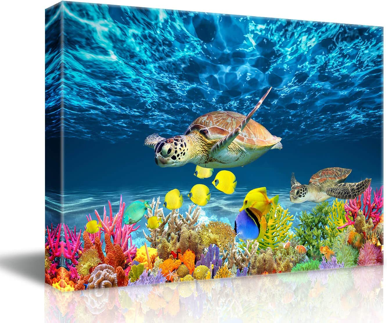 Bathroom Canvas Wall Art Kitchen Wall Decoration Modern Sea Turtle Wall Decor for Dining Room Colorful Fish Coral Beach Theme Pictures for Bathroom Framed Navy Seascape Nautical Wall Decor Size 12x16