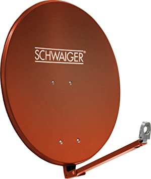 SCHWAIGER -265- Antena satelital | antena satelital con brazo de soporte LNB y montaje en el mástil | antena satelital de aluminio | rojo ladrillo | ...