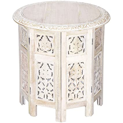 Moroccan Style Folding Small Solid Wood Side Table Ashkar White O 45cm Round Sofa Bedside Tables As Oriental Home Or Living Room Decoration Indian