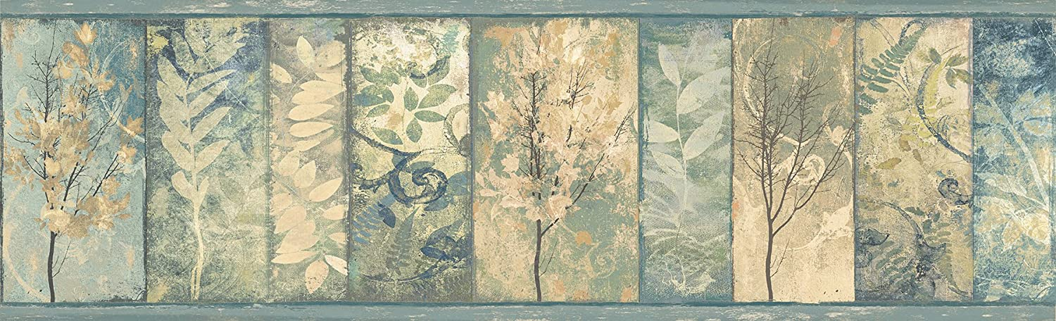 Chesapeake TLL01551B Lillinonah Foliage Wallpaper Border, Sky
