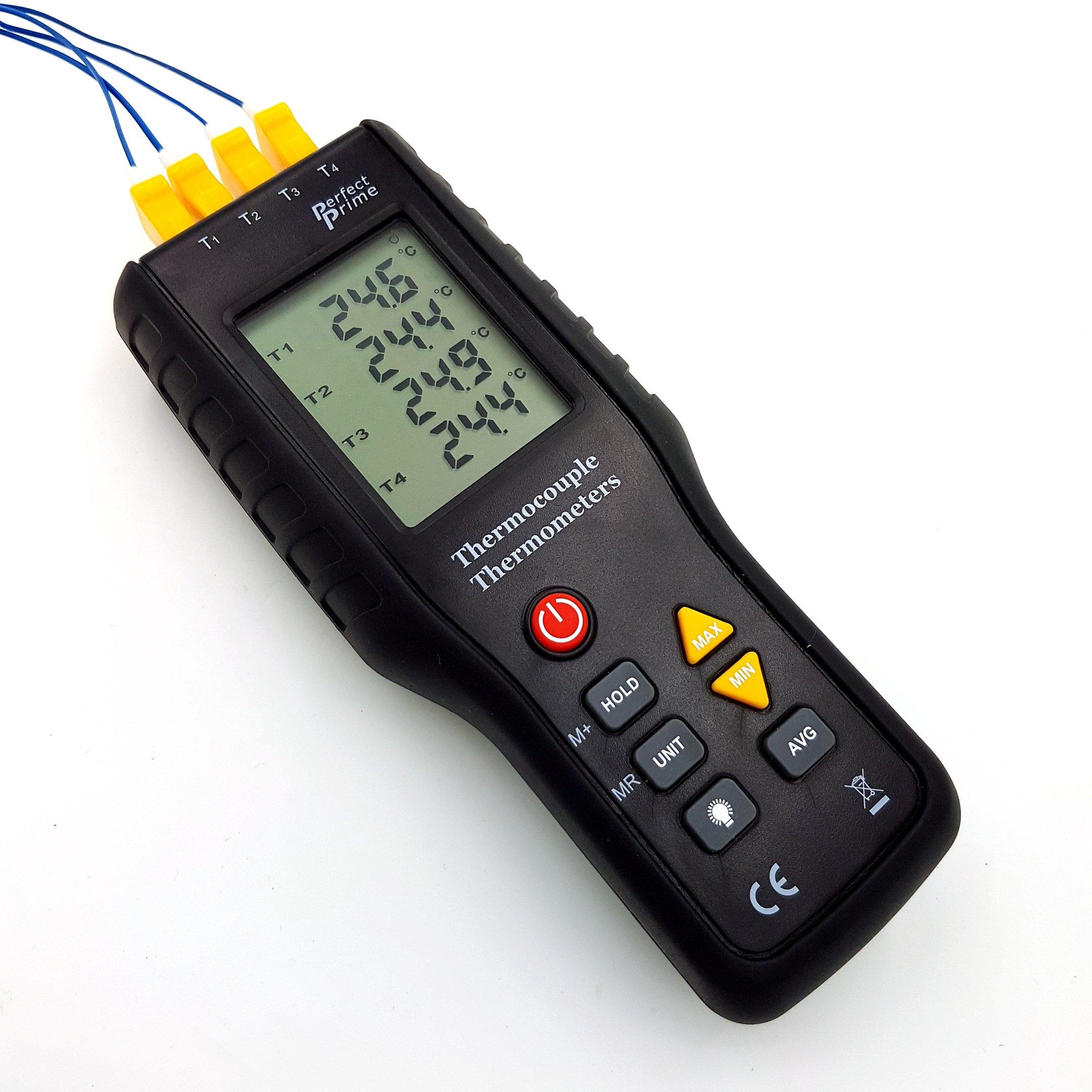 Perfect-Prime TC41, 4-Channel K-Type Digital Thermometer Thermocouple Sensor -200~1372°C/2501°F