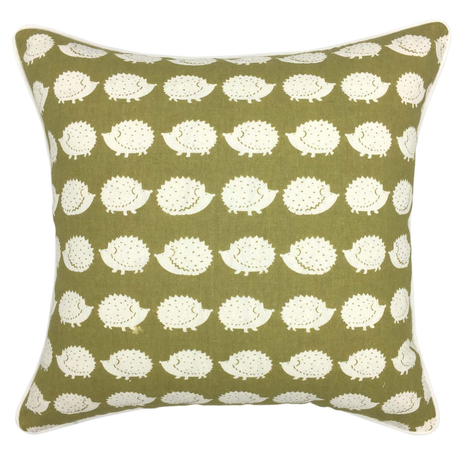 YOUR SMILE Cute animal Cotton Linen Square Decorative Throw Pillow Case Cushion Cover 18x18 Inch (Green / Hedgehog)