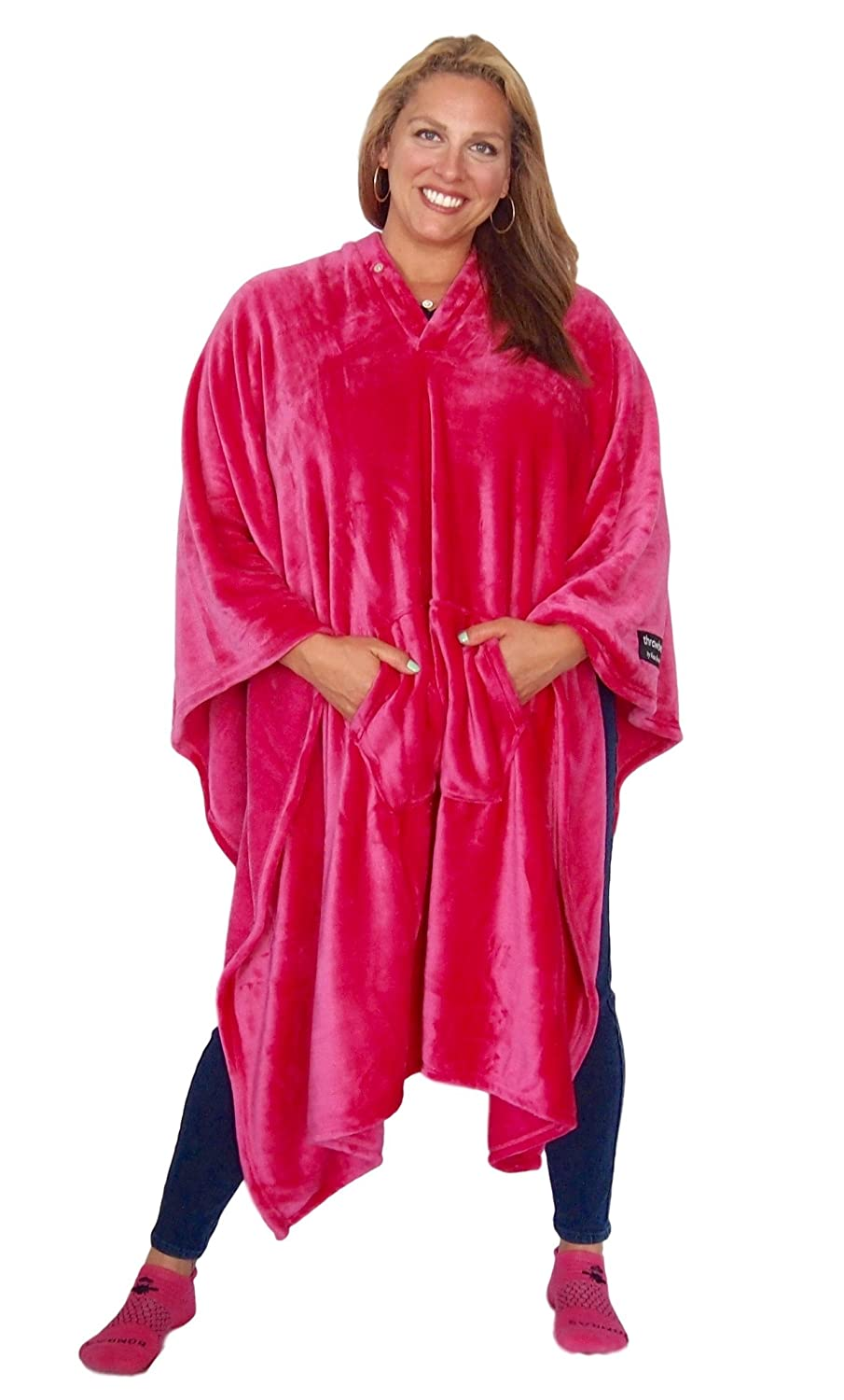 throwbee Original Blanket-Poncho Pink (Yay! NO Sleeves) Wearable Throw The Most Comfortable and Softest Ever Indoors or Outdoors - Men Women Kids Kona Benellie throwbee PINK