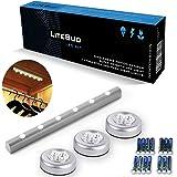 LiteBud - 6 luci LED extra luminose con sensore di movimento PIR senza fili + 3 Luci Notte che si attaccano a pressione per armadietti e cassetti, autoadesive, non necessitano di viti, funzionanti a pile (14 incluse) - Grigio
