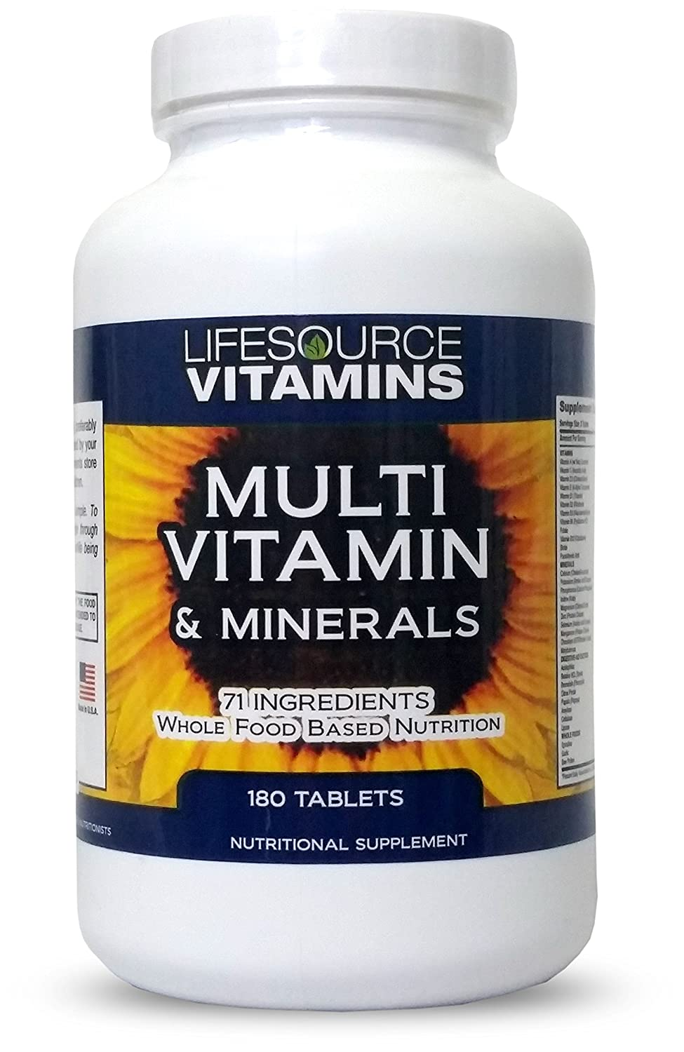LifeSource Complete Multi Vitamin Minerals 180 Tablets Includes 71 Whole Food Ingredients