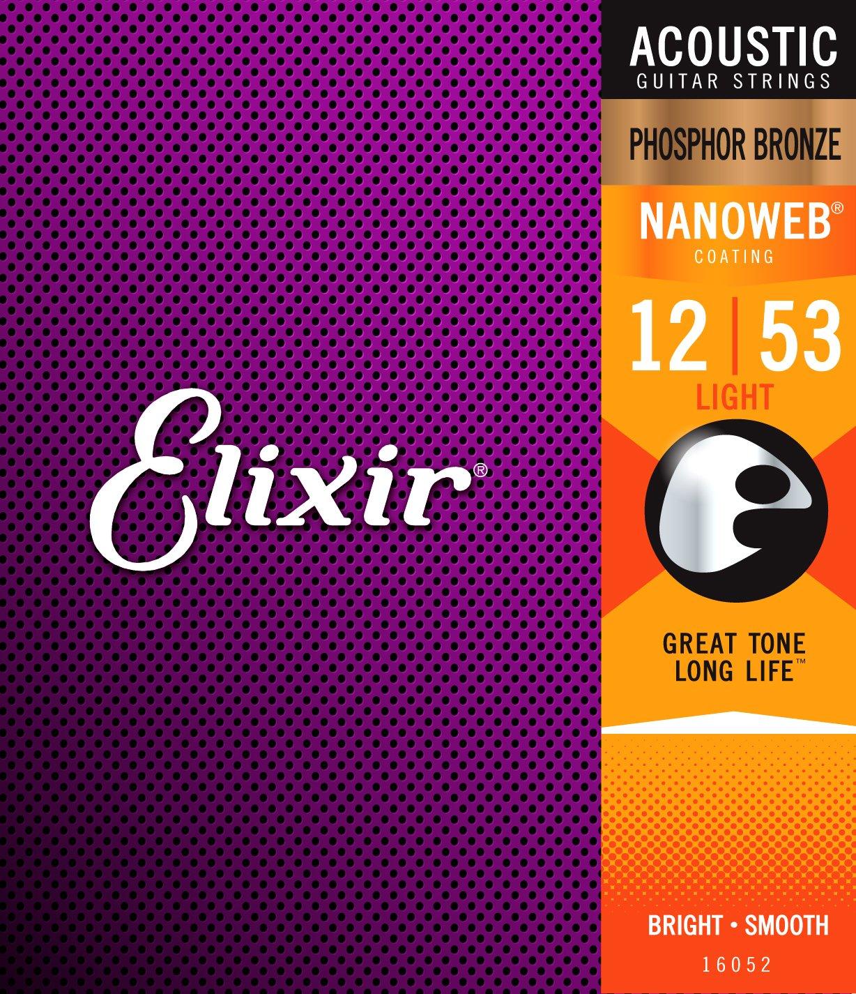Elixir Strings Phosphor Bronze Acoustic Guitar Strings w NANOWEB Coating, Light (.012-.053)