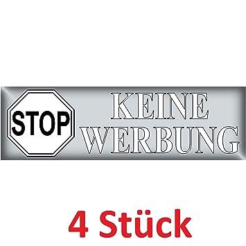 Aufkleber Sticker 6 5cm X 2cm Stop Keine Werbung Schrift Weiss