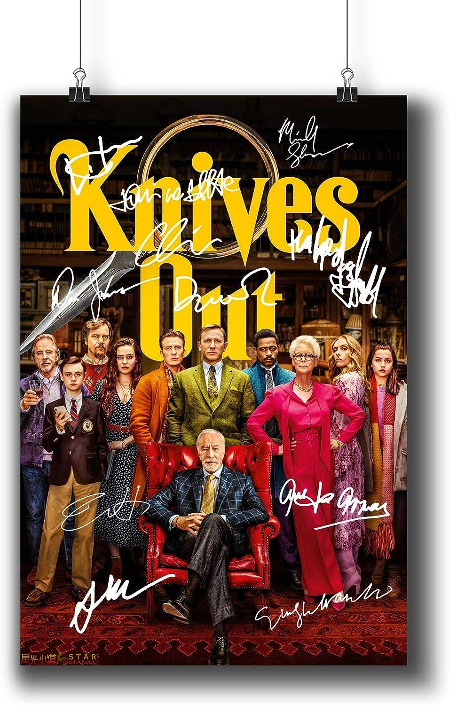 Pentagonwork Knives Out Casts Signed Reprint Mystery Movie Poster 8.3x11.7 A4 Prints w/Stickers 2019 Film, Daniel Craig Chris Evans Autographed, 1236-001