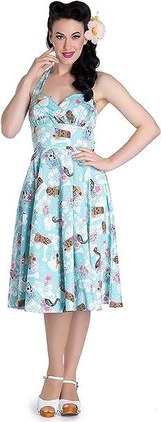 Hell Bunny Damen Kleid Suki Flamingo Tiki Swing Dress Blau L Amazon De Bekleidung