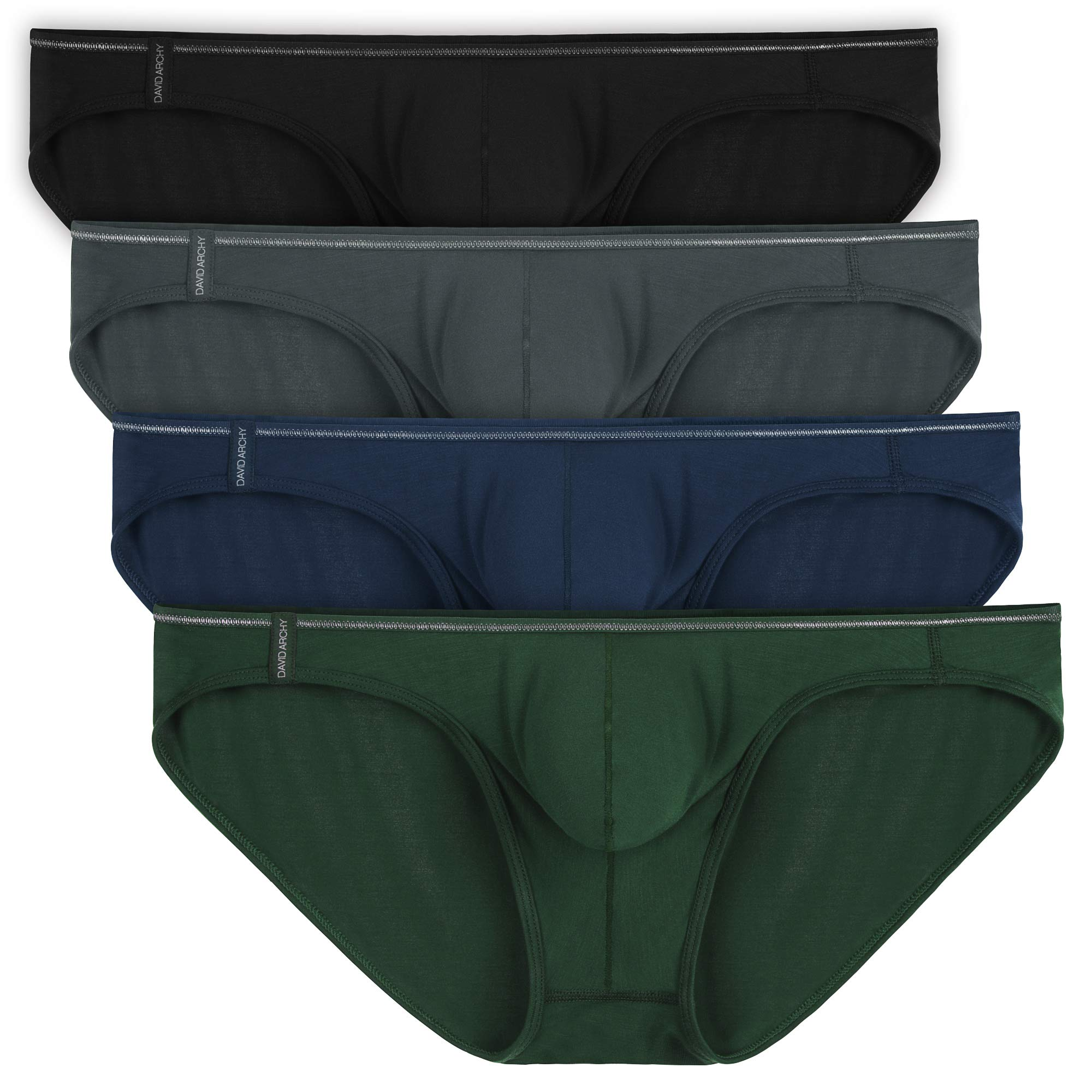 0a8bb73230e5 David Archy Men's 4 Pack Micro Modal Briefs Lightweight Sexy Bikinis  product image