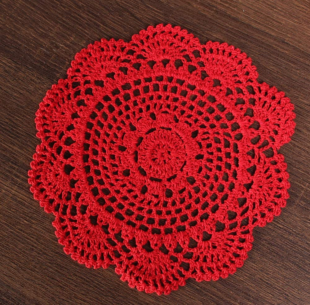 Vanyear Round Crochet Lace Doily Floral Design Fabric Coasters Doilies Value Pack, 4pcs/Set Red Lace Doilies