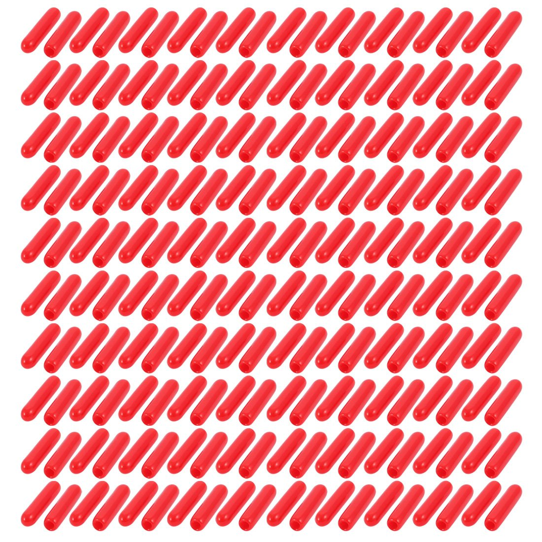 uxcell 200Pcs 2mm Inner Dia PVC Flexible Vinyl End Cap Screw Thread Protector Cover Red