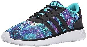 adidas Women's Lite Racer Casual Sneaker,Vivid Mint/Black/White,9.5 M US