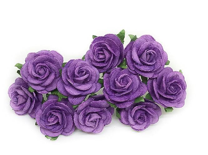 Amazon 1 purple paper flowers purple paper roses artificial 1quot purple paper flowers purple paper roses artificial flowers diy paper bouquet mightylinksfo