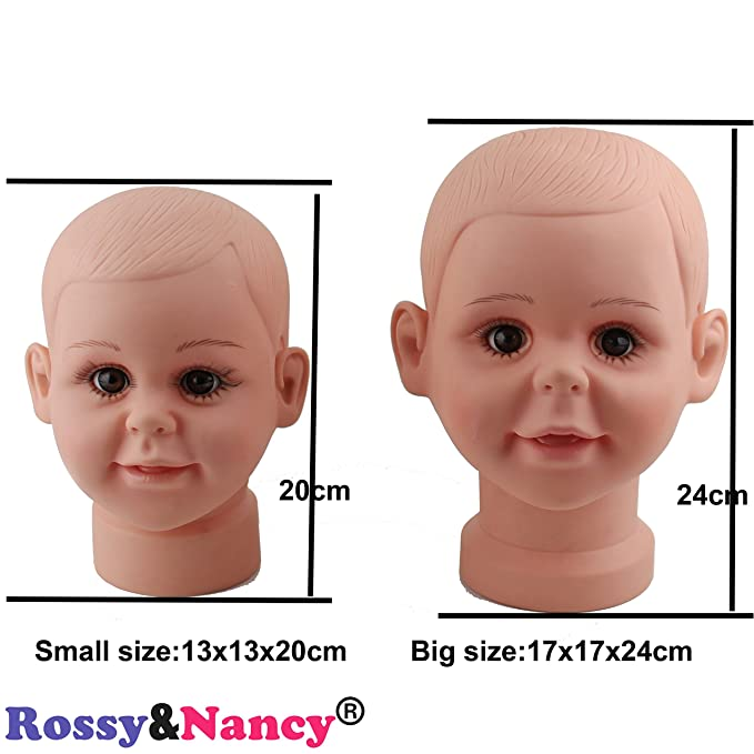 Jili Online Plastic Baby Boy Mannequin Manikin Head with Wig Kids Child Sunglasses Hat Display Stand Tool for Salon Stores