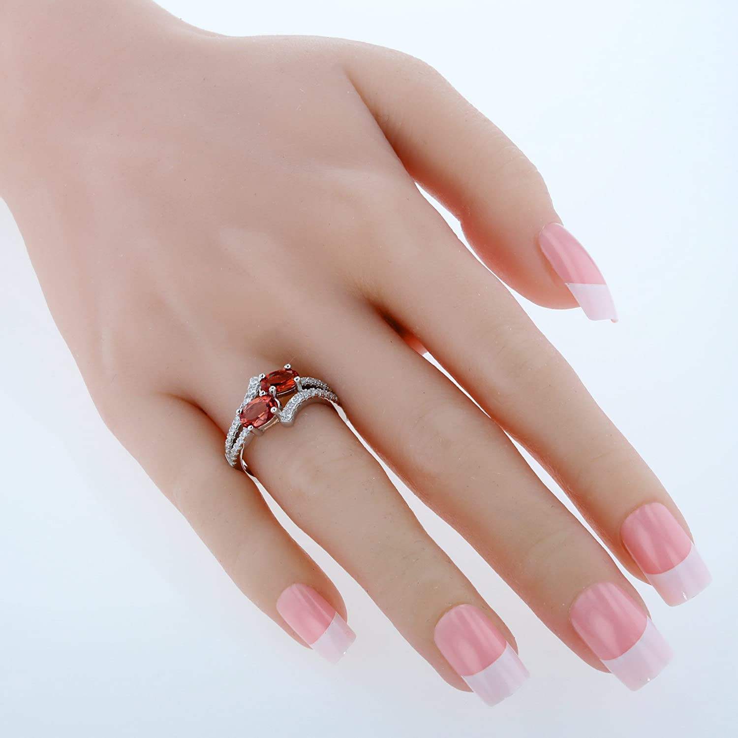 Forever Us Two Stone Sterling Silver Oval Cut Two Stone Ring Sizes 5 to 9 in Various Gemstones