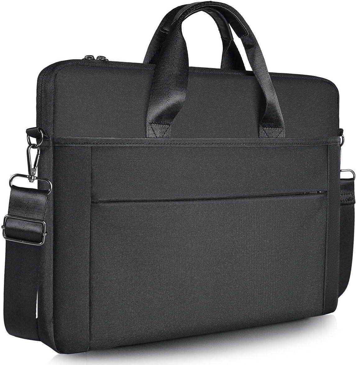 """15.6 inch Laptop Shoulder Bag, Slim Laptop Briefcase Bag with Strap for HP 15.6"""" Laptop/HP ENVY X360, Acer Aspire 5 Slim/Chromebook 15, ASUS VivoBook 15, Lenovo, DELL, 15.6 inch Laptop Carry Bag,Black"""