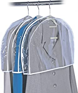 "Clear Vinyl Shoulder Covers Closet Suit Protects Storage Home Decor Size: 12""H x 22""W x 2""D, (12 Shoulder Covers)"