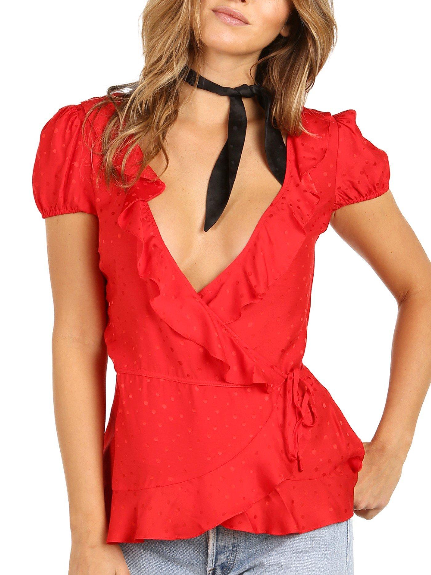 For Love and Lemons Women's Gabriella Silk Dot Blouse Chili Blouse