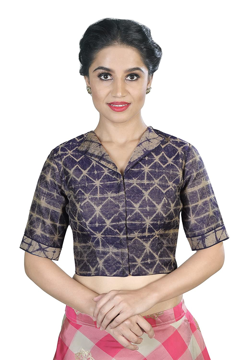 617db2ea961f4 Salwar Studio Women s Navy Blue color Ikat Silk Readymade Saree  Blouse-SSB1672-NVBL-42(OM-0030746 Navy Blue 42)  Amazon.in  Clothing    Accessories