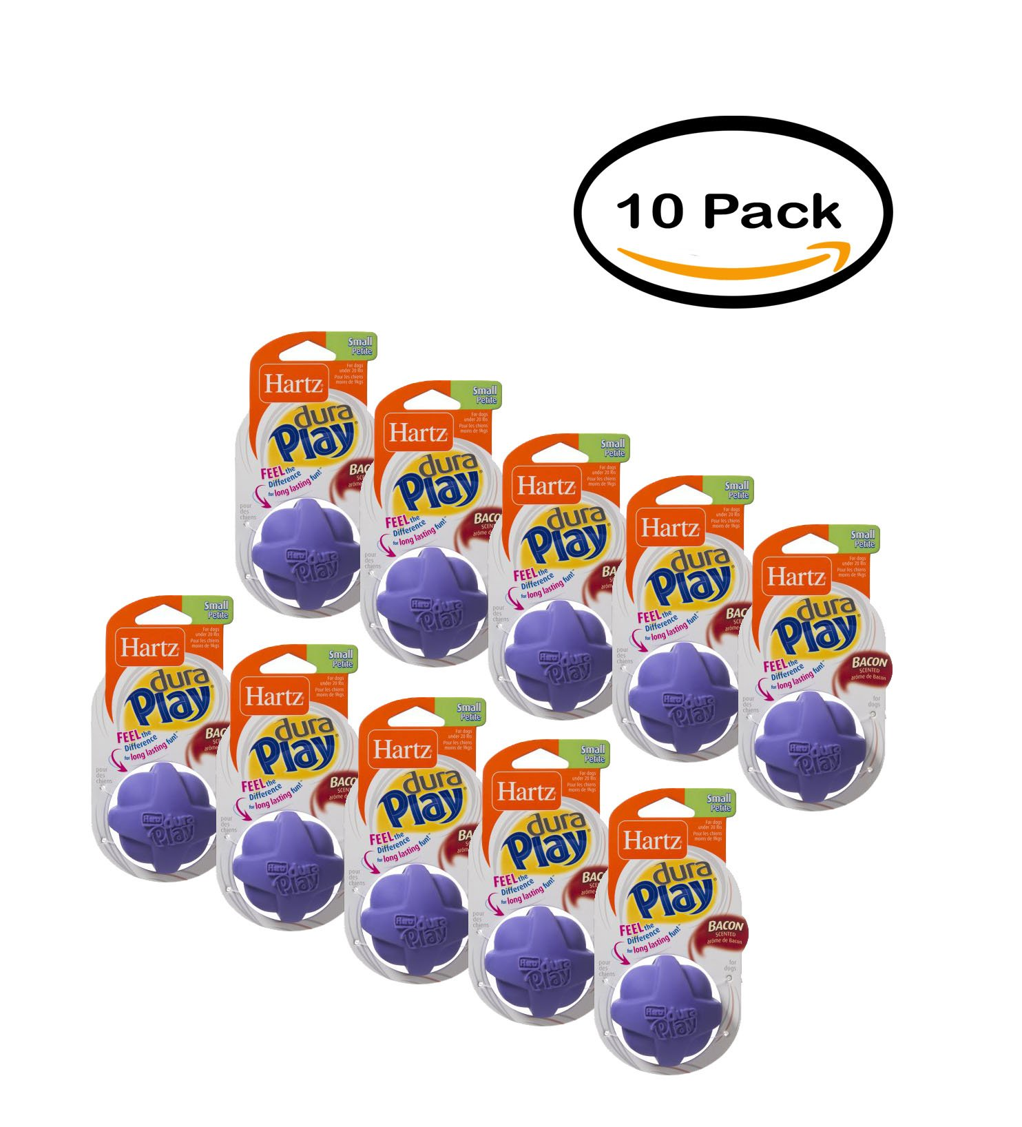 PACK OF 10 - Hartz Dura Play Small Ball Dog Toy