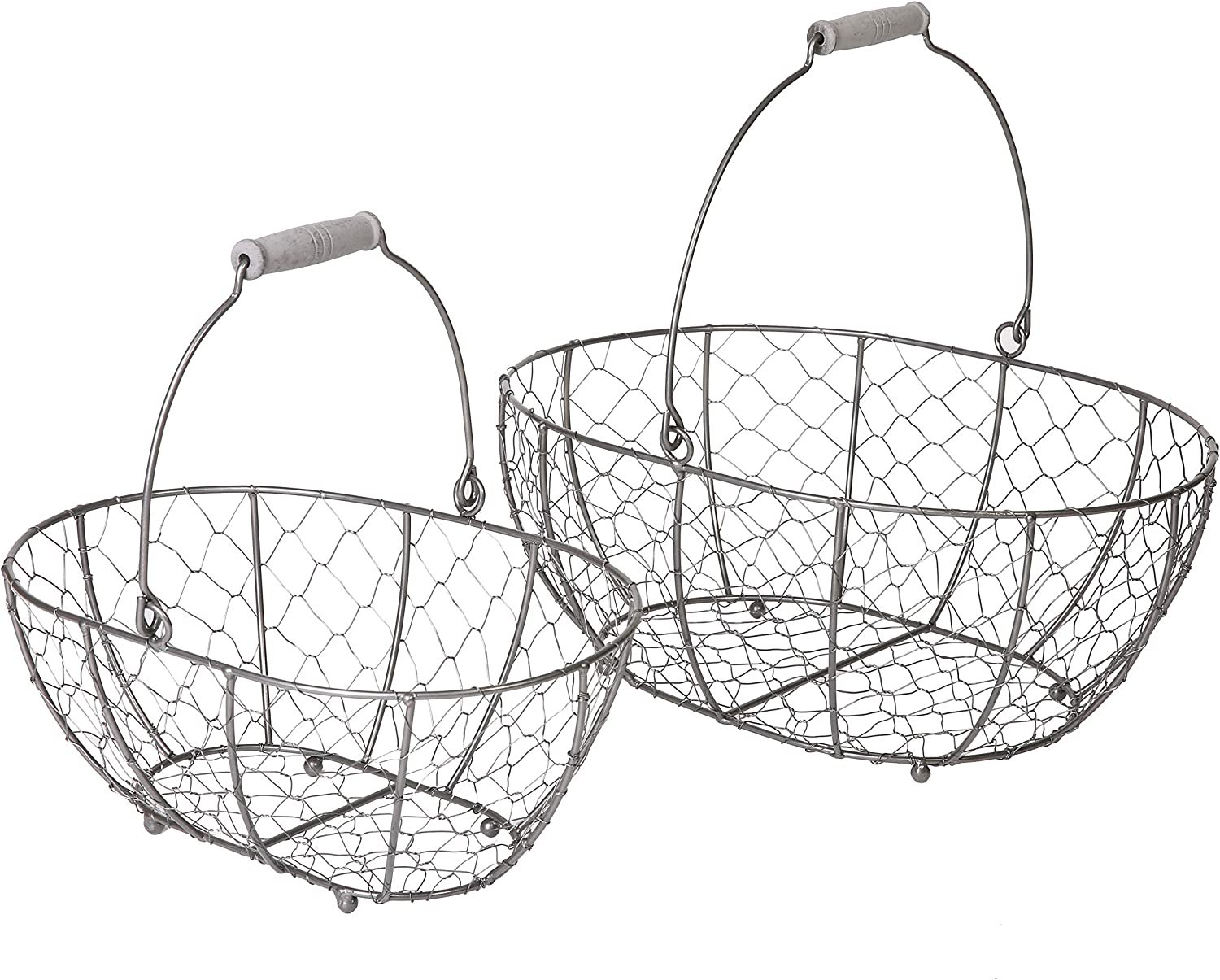 SLPR Metal Chicken Wire Basket Storage with Handle (Grey, Set of 2) | Farmhouse Decorative Storage Boxes for Shelves