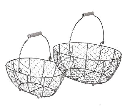 Amazon Com Slpr Grey Metal Round Wire Basket With Handle Set Of 2