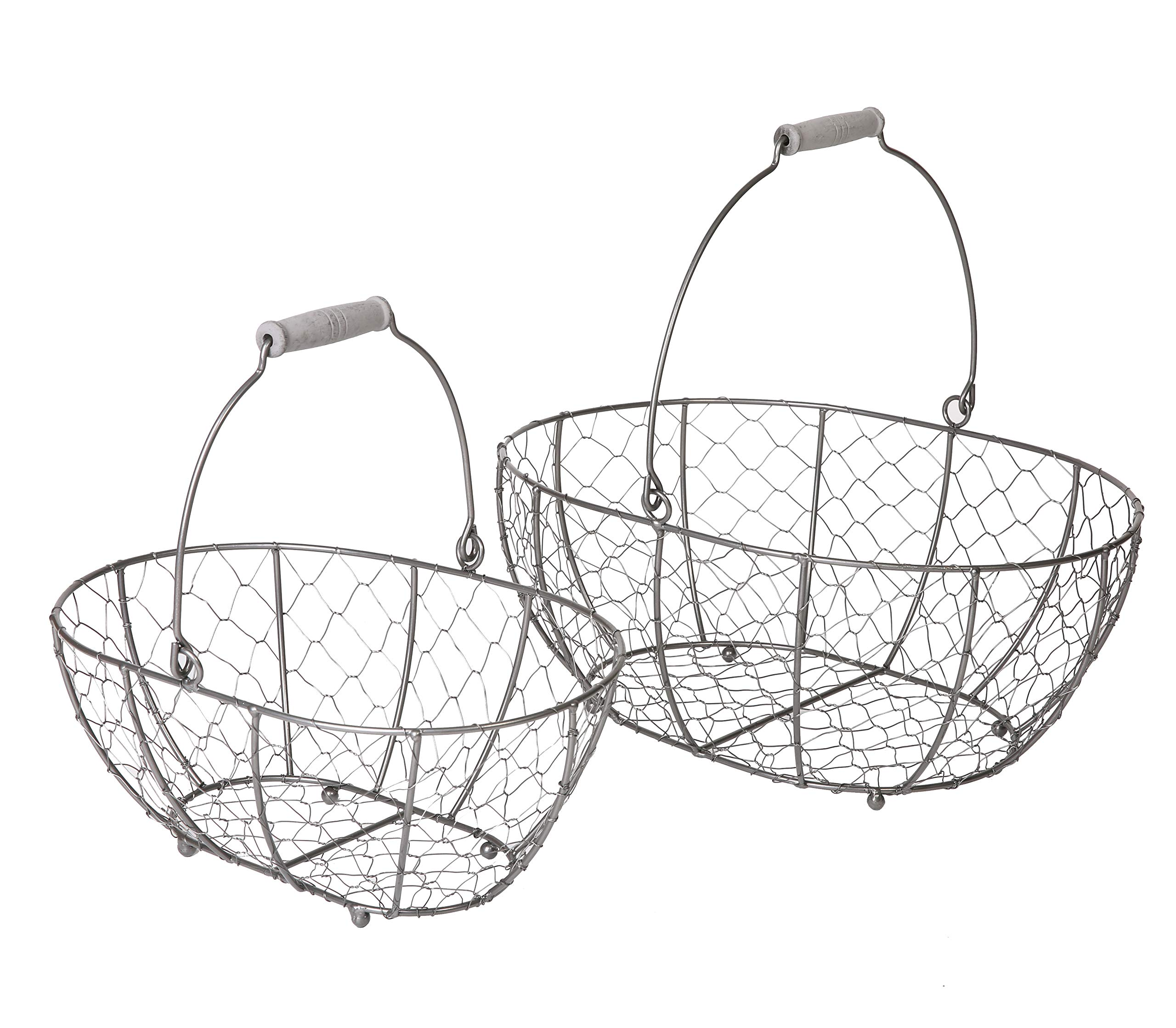 SLPR Grey Metal Round Wire Basket with Handle (set of 2) | Vintage Rustic Farmhouse Country Style Metal Chicken Wire Storage for Shelves Pantry Closet Home Decor