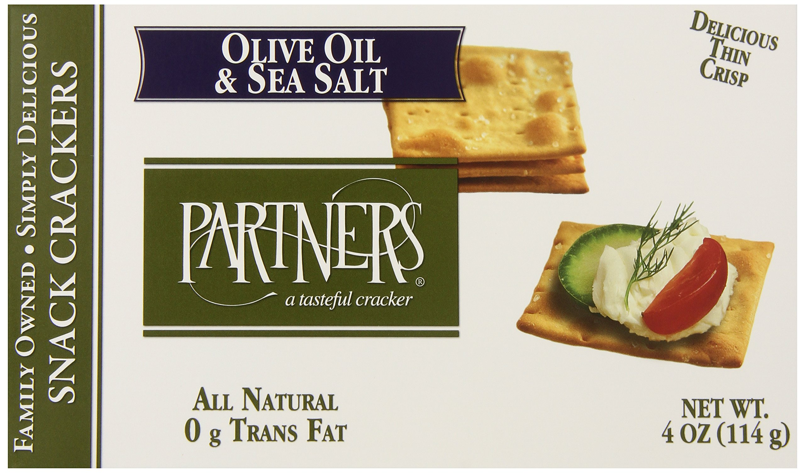 Partners All Natural Crackers, Olive Oil and Sea Salt, 4 Ounce (Pack of 6)