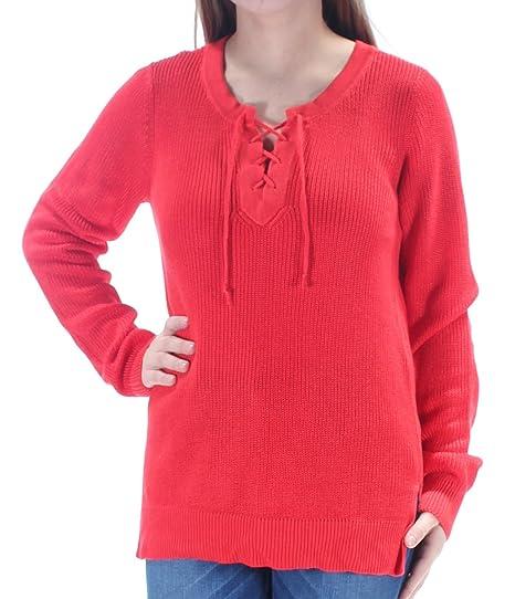 Ralph Lauren Womens Red Tie Long Sleeve V Neck Sweater Size  M ... c7304effdc8