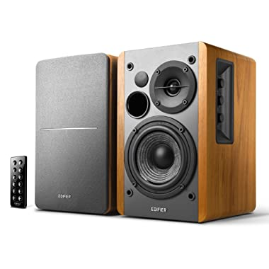 Edifier R1280DB Powered Bluetooth Bookshelf Speakers - Optical Input - Wireless Studio Monitors - 4 Inch Near Field Speaker - 42w RMS - Wood Grain (Wood)