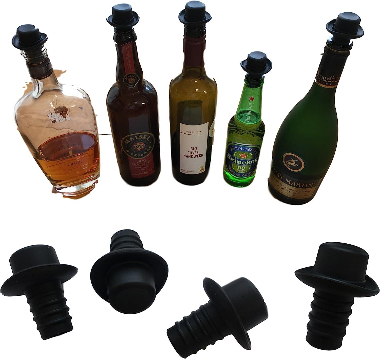 universel Fermeture /à bouchon en silicone/ /alimentaire r/éutilisable /& longue dur/ée/ 4st /Que vin bouchon de rechange bouchon bouteilles en verre de Whisky Alcool vin/ /Tout Fermer