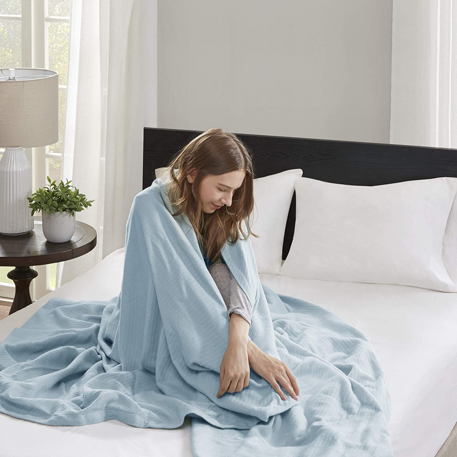 Madison Park Liquid Cotton Luxury Blanket Premium Soft Cozy 100% Ring Spun Cotton For Bed , Couch or Sofa, King, Light Blue